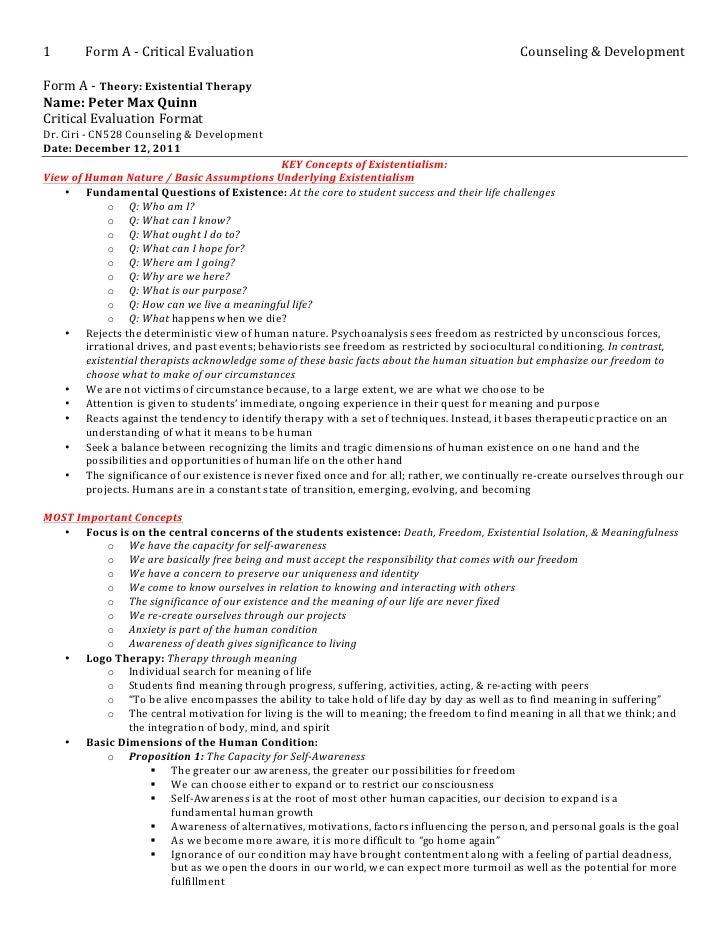 1           Form A -‐ Critical Evaluation                                                ...