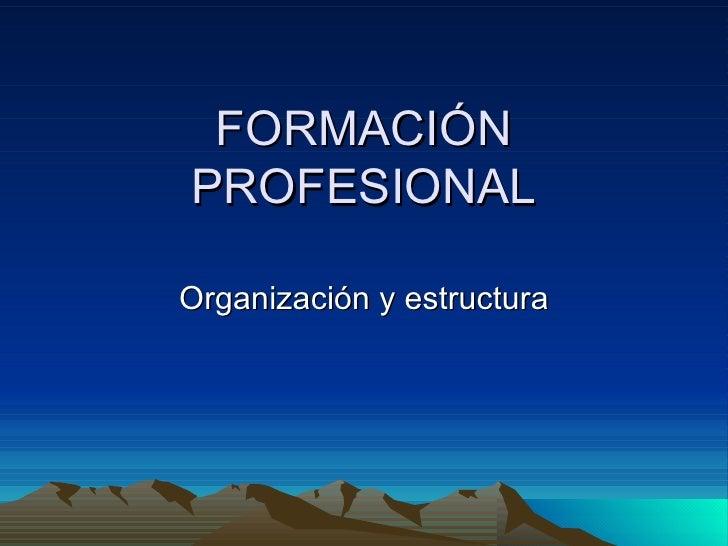 FORMACIÓN PROFESIONAL Organización y estructura