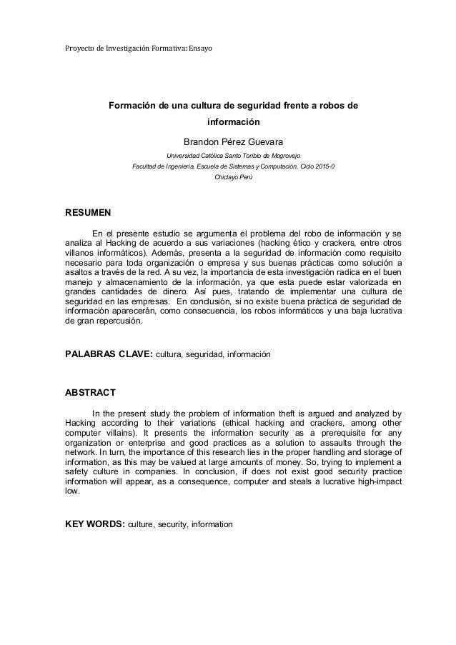 Proyecto de Investigación Formativa: Ensayo Formación de una cultura de seguridad frente a robos de información Brandon Pé...