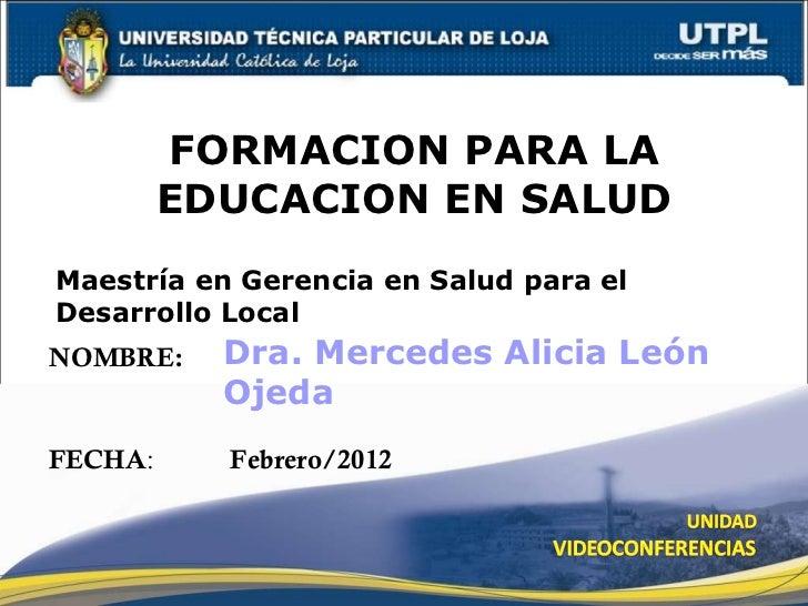Formación  para la educaciónutpl, febrero 2012.malo d.