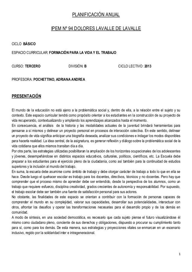 PLANIFICACIÓN ANUAL                            IPEM Nº 94 DOLORES LAVALLE DE LAVALLECICLO BÁSICOESPACIO CURRICULAR: FORMAC...