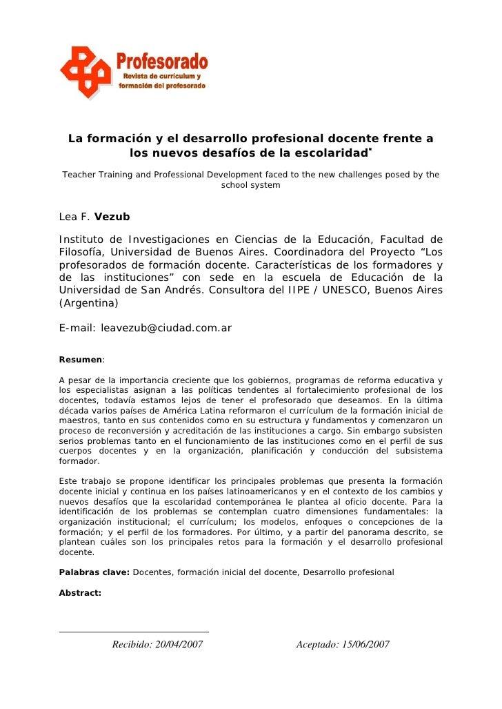 Formación y el desarrollo profesional