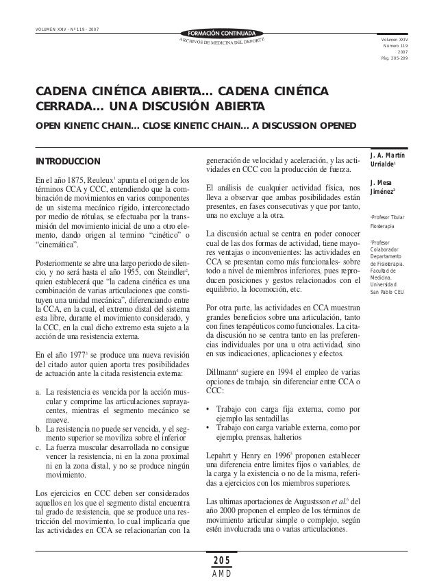 VOLUMEN XXIV - Nº 119 - 2007 Volumen XXIV Número 119 2007 Pág. 205-209  CADENA CINÉTICA ABIERTA… CADENA CINÉTICA CERRADA… ...