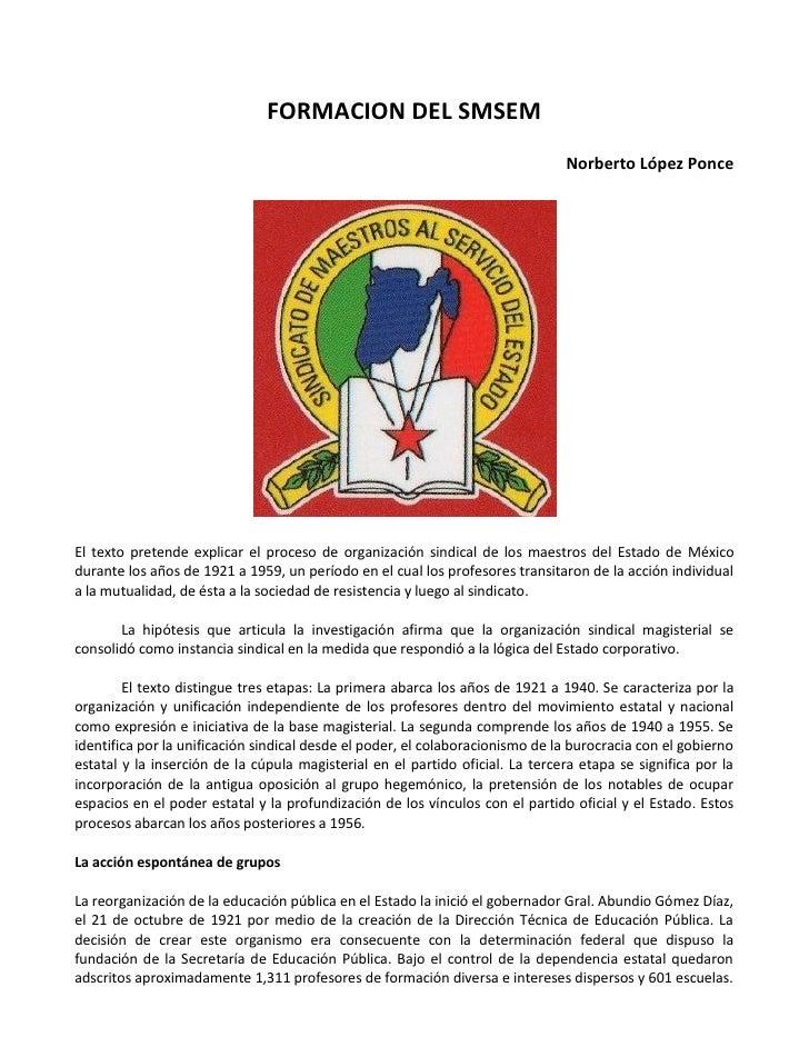 FORMACION DEL SMSEM                                                                                Norberto López Ponce   ...