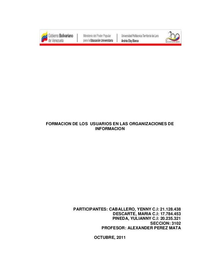FORMACION DE LOS USUARIOS EN LAS ORGANIZACIONES DE                   INFORMACION          PARTICIPANTES: CABALLERO, YENNY ...