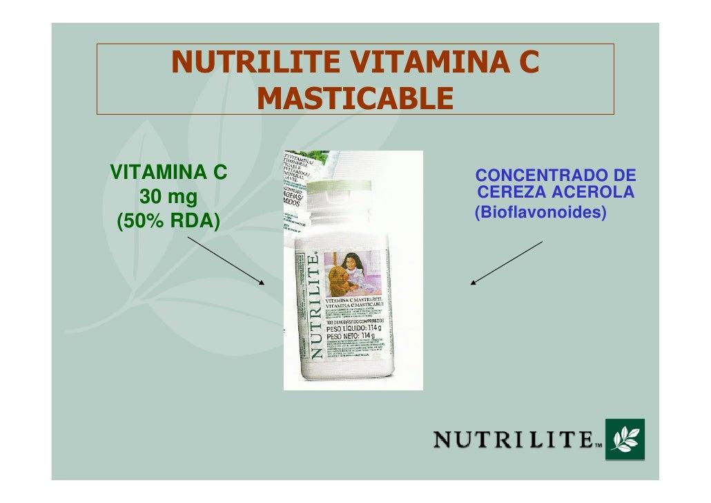 NUTRILITE VITAMINA C          MASTICABLE  VITAMINA C           CONCENTRADO DE    30 mg             CEREZA ACEROLA         ...