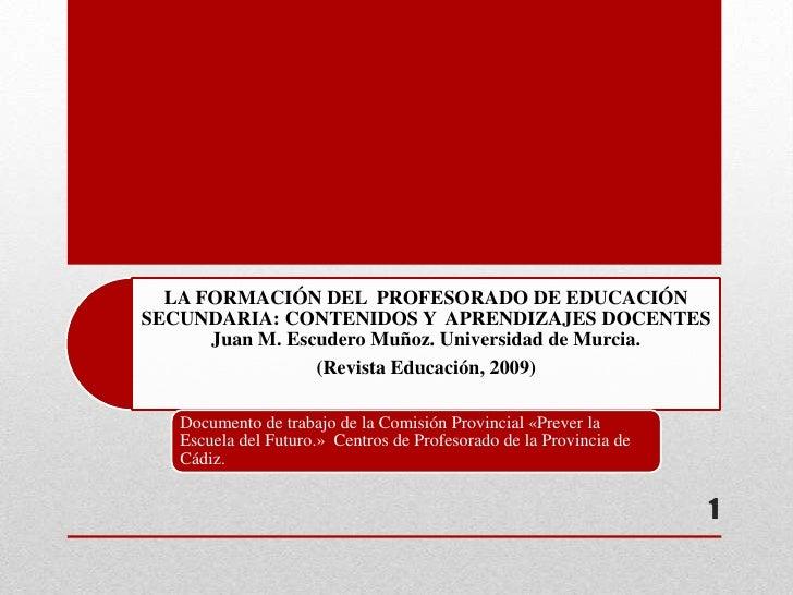 LA FORMACIÓN DEL PROFESORADO DE EDUCACIÓNSECUNDARIA: CONTENIDOS Y APRENDIZAJES DOCENTES      Juan M. Escudero Muñoz. Unive...