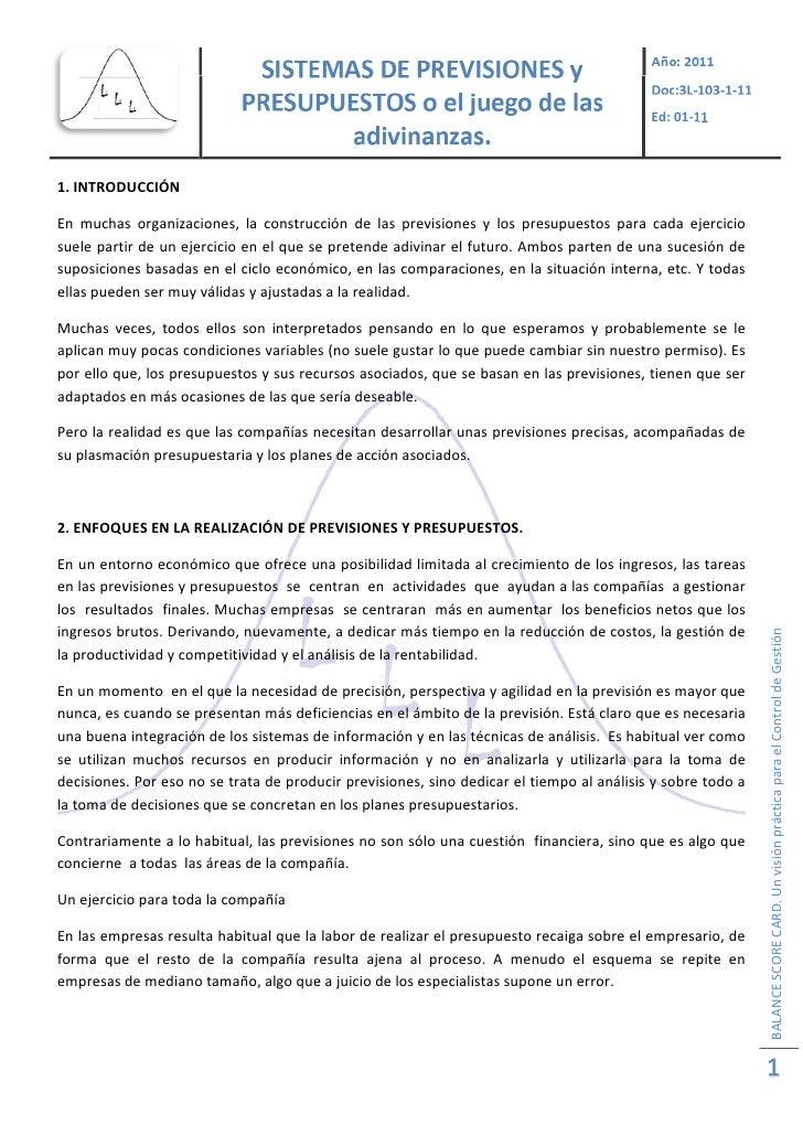 Ed:01‐111.INTRODUCCIÓNEn muchas organizaciones, la construcción de las previsiones y los presupuestos para...