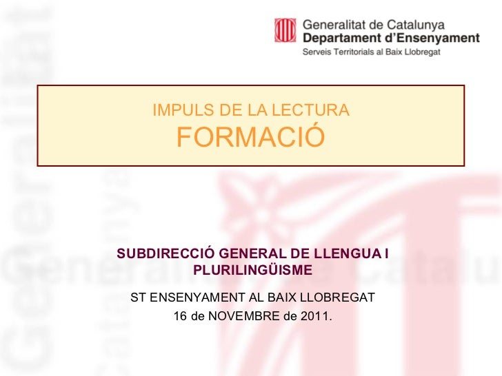 Formació IMPULS DE LA LECTURA