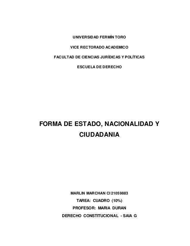 UNIVERSIDAD FERMÍN TORO VICE RECTORADO ACADEMICO FACULTAD DE CIENCIAS JURÍDICAS Y POLÍTICAS ESCUELA DE DERECHO FORMA DE ES...