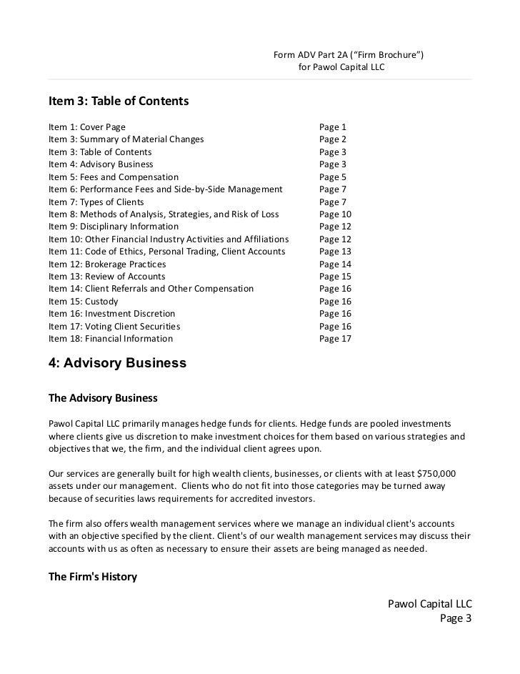 Form ADV Part II Schedule F