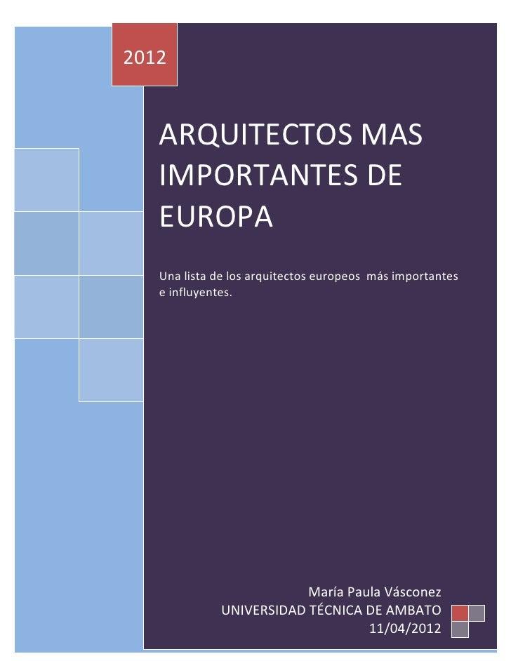 formal arquitectos mas importantes de europa