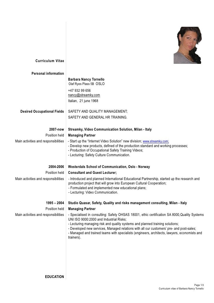 ... De Curriculum Vitae Europass ... Sample Formal Resume Template