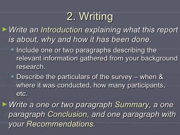 How to write a assignment report