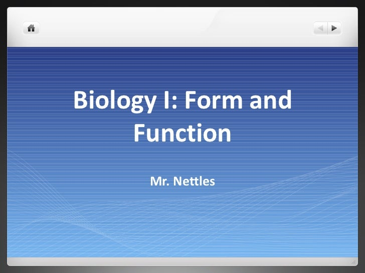 Biology I: Form and Function Mr. Nettles