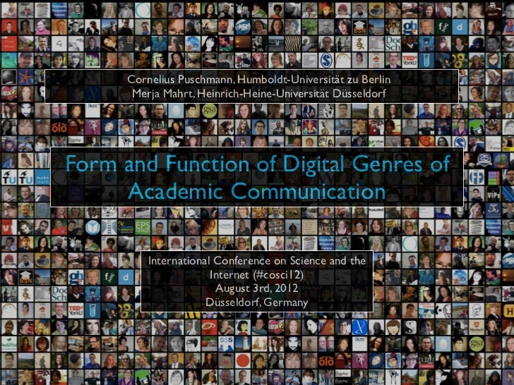 Form and Function of Digital Genres of Scholarly Communication: Results of the SciLogs study