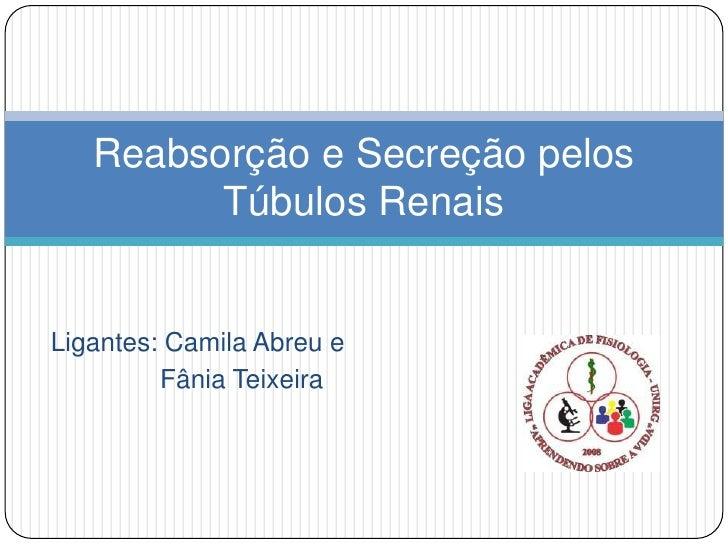 Reabsorção e Secreção pelos         Túbulos RenaisLigantes: Camila Abreu e         Fânia Teixeira
