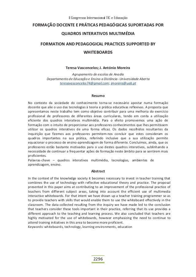 II Congresso Internacional TIC e Educação   FORMAÇÃO DOCENTE E PRÁTICAS PEDAGÓGICAS SUPORTADAS POR                      QU...
