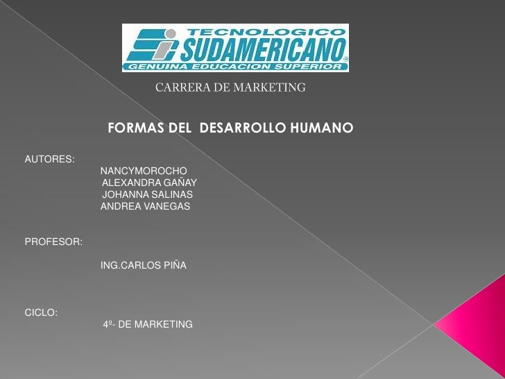 CARRERA DE MARKETING<br />FORMAS DEL  DESARROLLO HUMANO<br />AUTORES:  <br />NANCYMOROCHO<br />          ALEXANDRA GAÑAY<b...