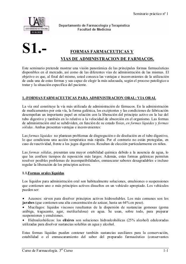Seminario práctico nº 1S1.-                            FORMAS FARMACEUTICAS Y                         VIAS DE ADMINISTRACI...