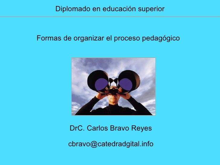 Diplomado en educación superior Formas de organizar el proceso pedagógico DrC. Carlos Bravo Reyes [email_address]