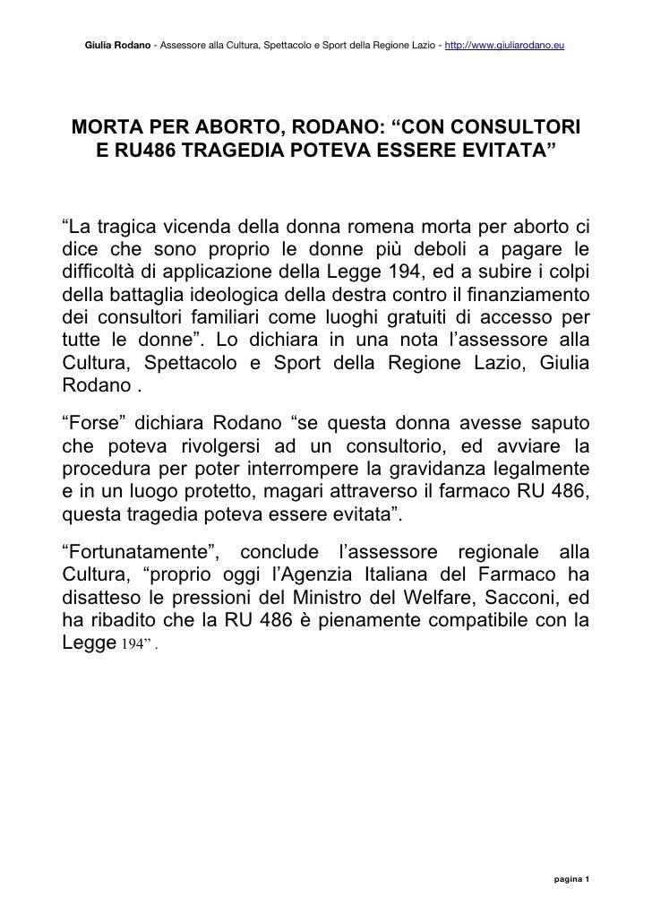 Giulia Rodano - Assessore alla Cultura, Spettacolo e Sport della Regione Lazio - http://www.giuliarodano.eu      MORTA PER...
