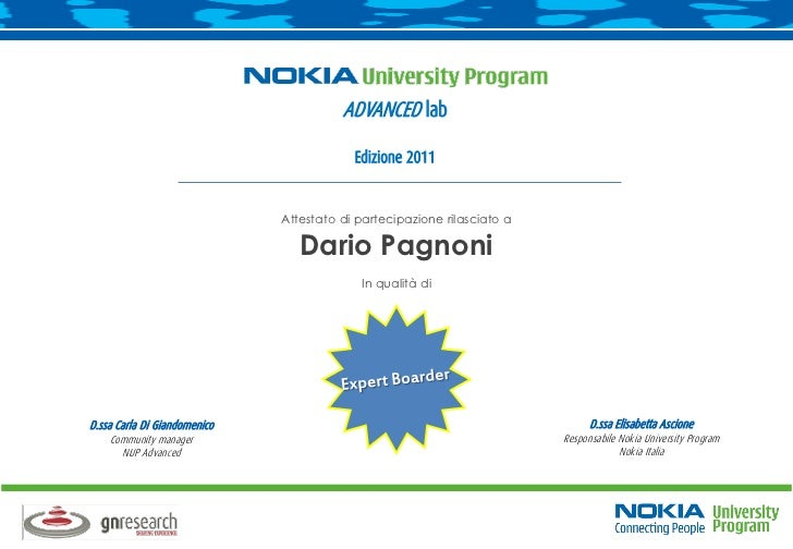 Attestato Nokia - community NUP advanced
