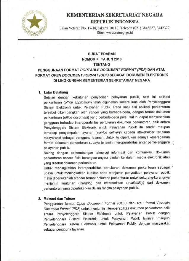 Format dokumen perkantoran SNI