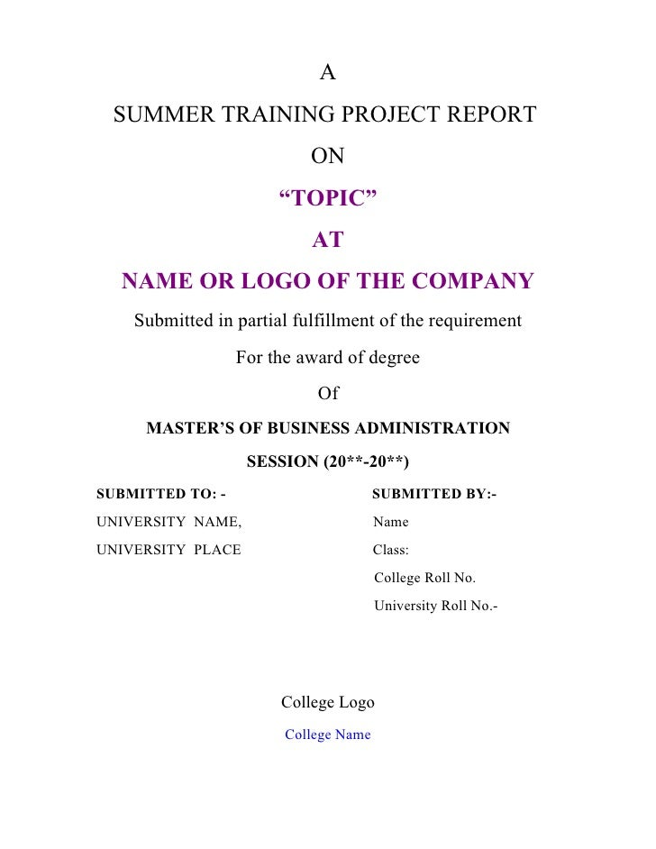 """A SUMMER TRAINING PROJECT REPORT                           ON                       """"TOPIC""""                           AT  ..."""