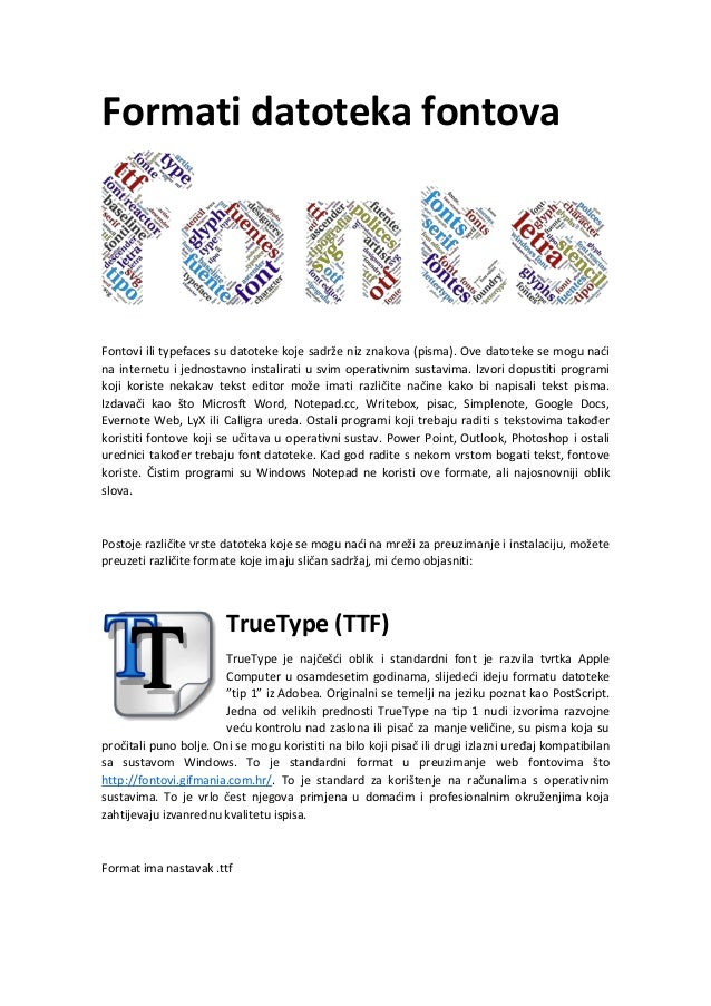 Formati datoteka fontova: TrueType (TTF), PostScript y OpenType (OTF)