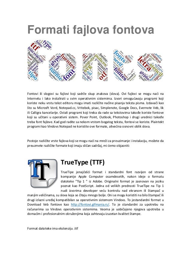 Formati fajlova fontova: TrueType (TTF), PostScript y OpenType (OTF)