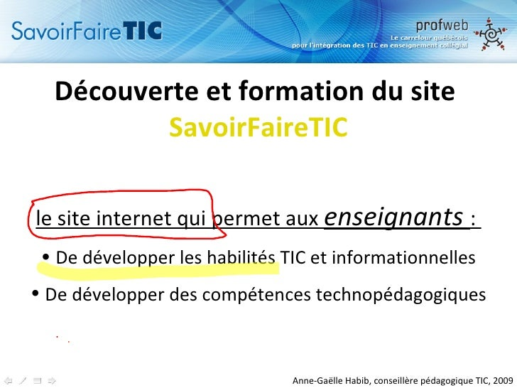 <ul><li>Découverte et formation du site  SavoirFaireTIC </li></ul><ul><li>le site internet qui permetaux  enseignants : ...