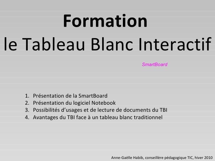 Anne-Gaëlle Habib, conseillère pédagogique TIC, hiver 2010 Formation   le Tableau Blanc Interactif SmartBoard <ul><li>Prés...