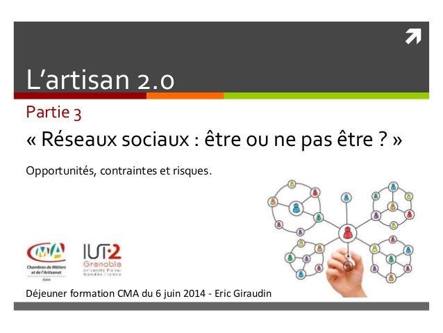  Déjeuner formation CMA du 6 juin 2014 - Eric Giraudin L'artisan 2.0 Partie 3 « Réseaux sociaux : être ou ne pas être ? »...