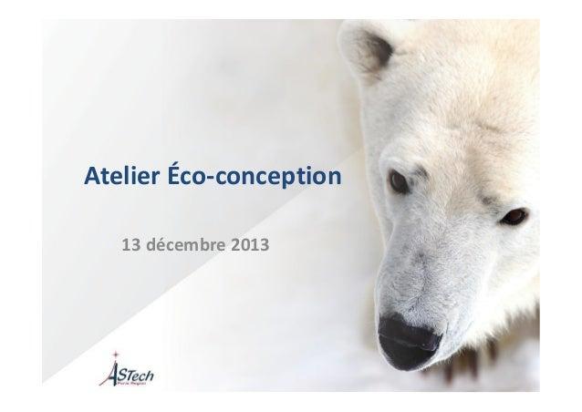 Atelier Éco-conception  13 décembre 2013
