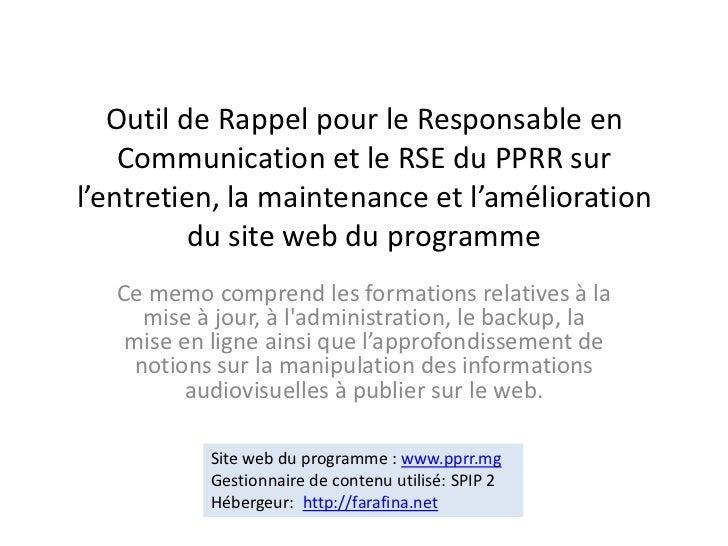 Outil de Rappel pour le Responsable en Communication et le RSE du PPRR sur l'entretien, la maintenance et l'amélioration d...