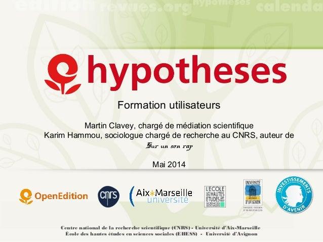 Formation Hypothèses - mai 2014