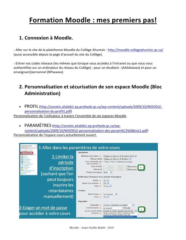 FormationMoodle:mespremierspas!                                 1. ConnexionàMoodle.      ‐Aller...