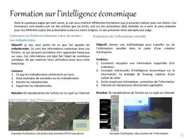 Formation sur l'intelligence économique   Dans les quelques pages qui vont suivre, je vais vous montrer différentes format...