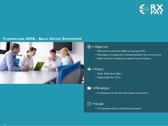 FORMATIONS SEPA - BACK OFFICE ENTREPRISE OBJECTIFS PUBLIC PRÉ-REQUIS DURÉE • 2 à 3 journées selon le profil des participan...