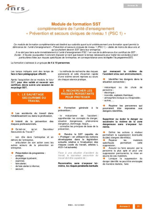 INRS – 01/12/2009 Module de formation SST complémentaire de l'unité d'enseignement « Prévention et secours civiques de niv...