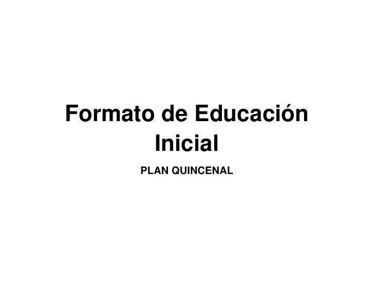 Formatos de Planificacion
