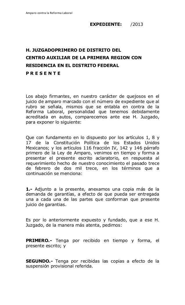 Amparo contra la Reforma Laboral                                                     EXPEDIENTE:   /2013H. JUZ...