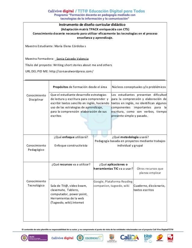 Instrumento de diseño curricular didáctico  (Adaptación matriz TPACK enriquecida con CTS)  Conocimiento docente necesario ...