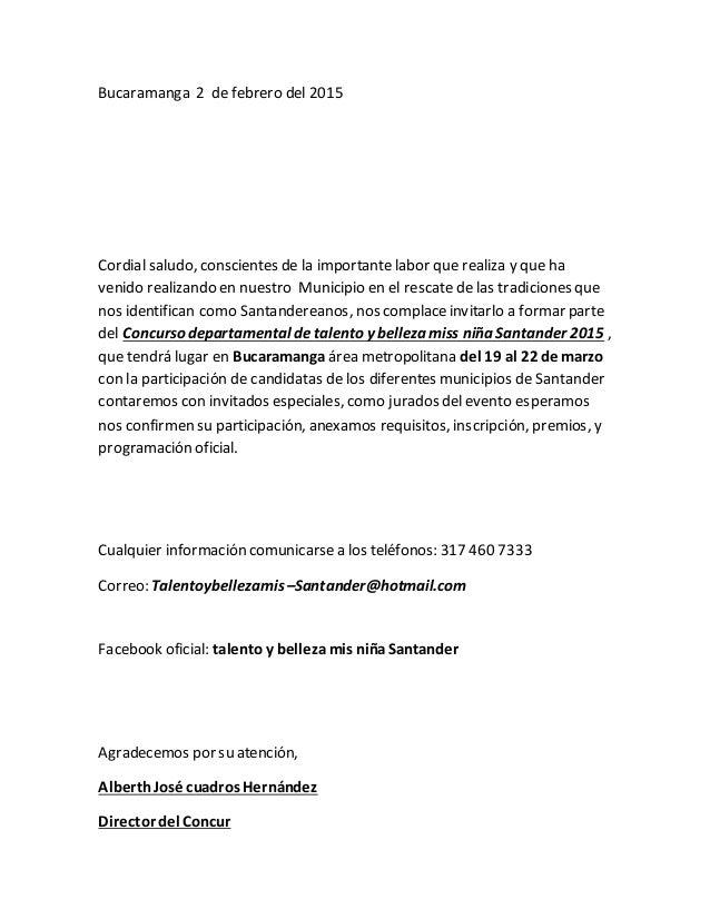 Bucaramanga 2 de febrero del 2015 Cordial saludo, conscientes de la importante labor que realiza y que ha venido realizand...