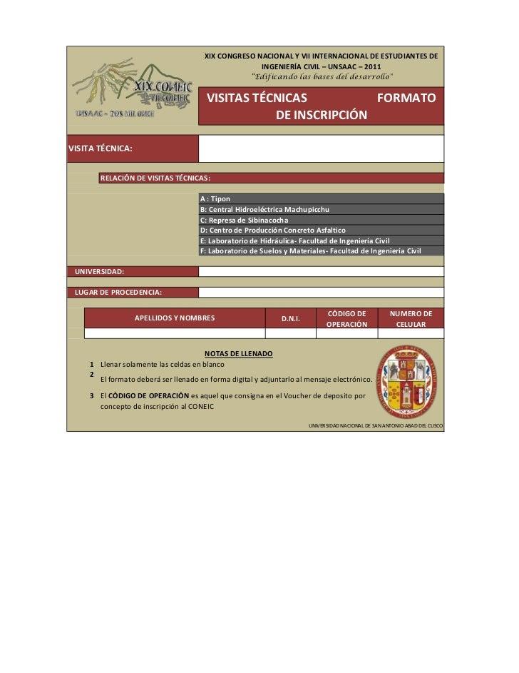 Formato de inscripción para las Visitas Ténicas