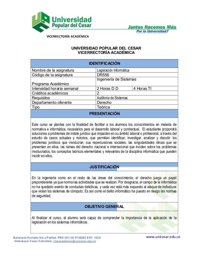 VICERRECTORÍA ACADÉMICA  UNIVERSIDAD POPULAR DEL CESAR VICERRECTORÍA ACADÉMICA IDENTIFICACIÓN Nombre de la asignatura Códi...