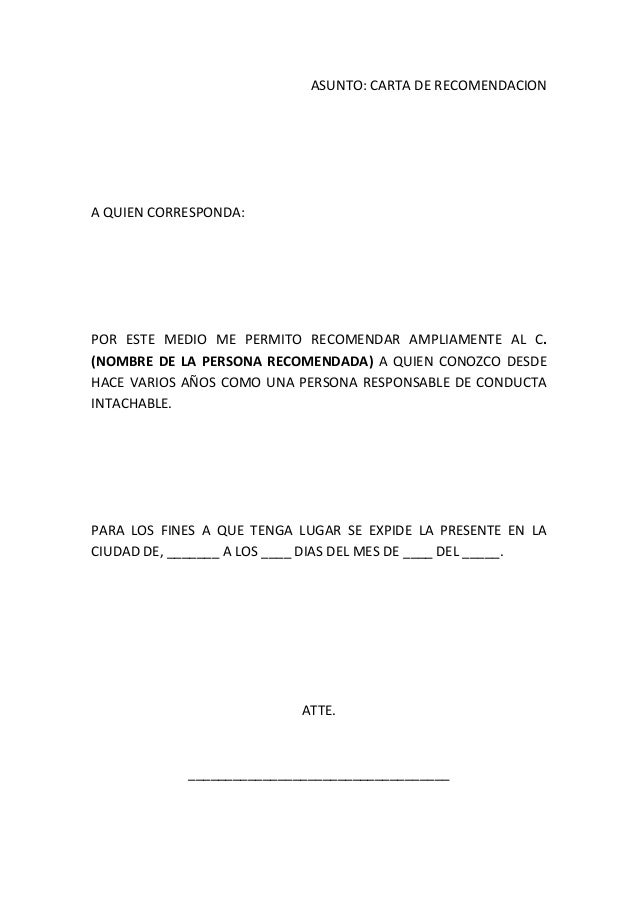 formato de carta de recomendacion