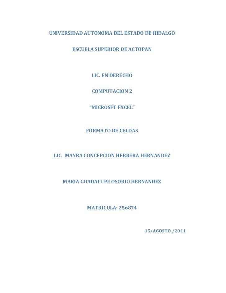"""UNIVERSIDAD AUTONOMA DEL ESTADO DE HIDALGO<br />ESCUELA SUPERIOR DE ACTOPAN<br />LIC. EN DERECHO<br />COMPUTACION 2<br />""""..."""