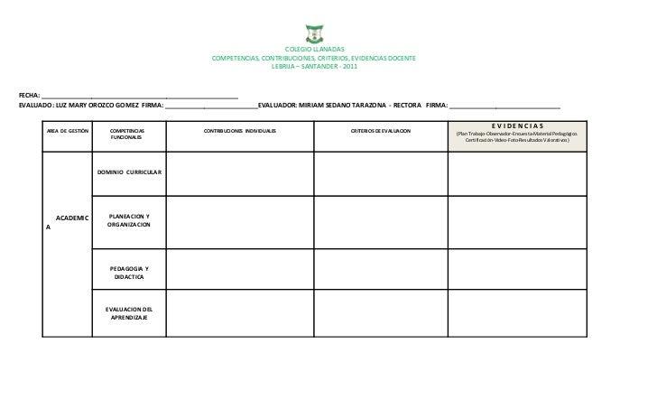 COLEGIO LLANADAS                                                    COMPETENCIAS, CONTRIBUCIONES, CRITERIOS, EVIDENCIAS DO...